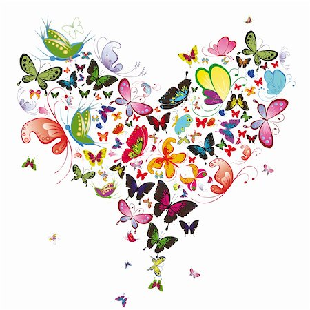 fly heart - Butterfly heart, valentine vector illustration. Element for design Stock Photo - Budget Royalty-Free & Subscription, Code: 400-04355122
