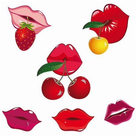 simsearch:400-04801287,k - Set of glossy lips in tender kiss with cherry and strawberry. Vector illustration. Stock Photo - Budget Royalty-Free & Subscription, Code: 400-04355123