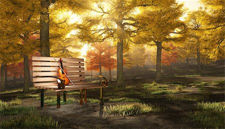 rolffimages (artist) - Violin in autumnal park Stock Photo - Budget Royalty-Free & Subscription, Code: 400-04355506
