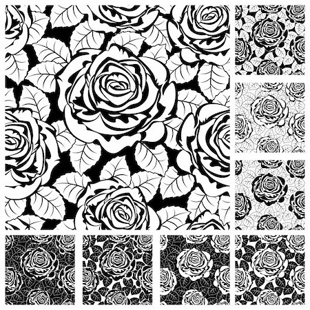 Set from seamless from roses and  leaves. Black and white(can be repeated and scaled in any size) Stock Photo - Budget Royalty-Free & Subscription, Code: 400-04355615