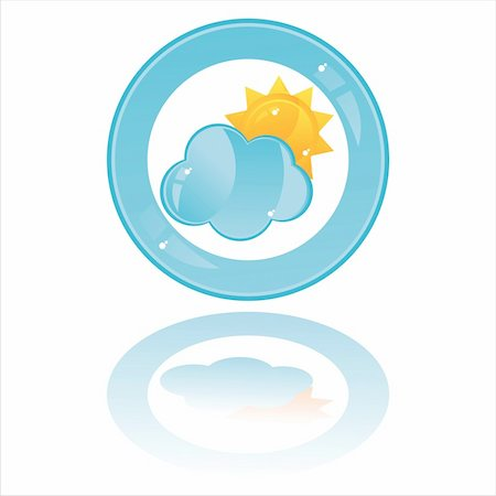 glossy cloud with sun button isolated on white Stock Photo - Budget Royalty-Free & Subscription, Code: 400-04355828