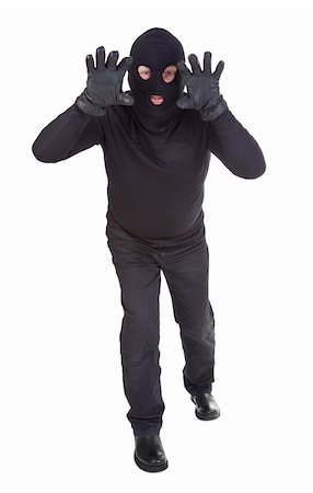 Burglar attack against white background Stock Photo - Budget Royalty-Free & Subscription, Code: 400-04356124