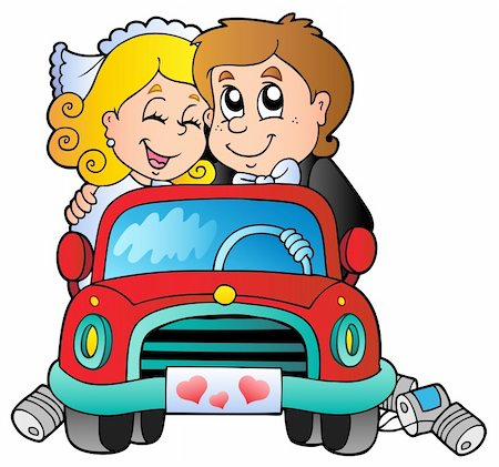 Car with wedding couple - vector illustration. Stock Photo - Budget Royalty-Free & Subscription, Code: 400-04356324