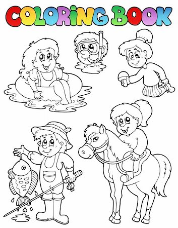 Coloring book with kids activities - vector illustration. Stock Photo - Budget Royalty-Free & Subscription, Code: 400-04356337
