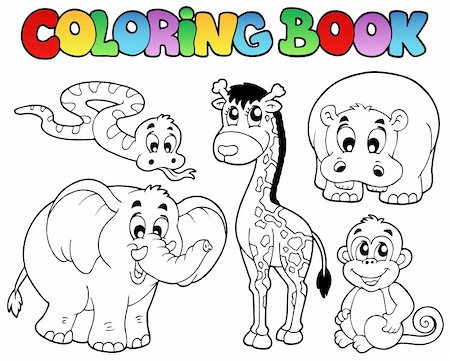 Coloring book with African animals - vector illustration. Stock Photo - Budget Royalty-Free & Subscription, Code: 400-04356330