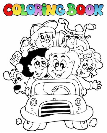Coloring book with family in car - vector illustration. Stock Photo - Budget Royalty-Free & Subscription, Code: 400-04356333