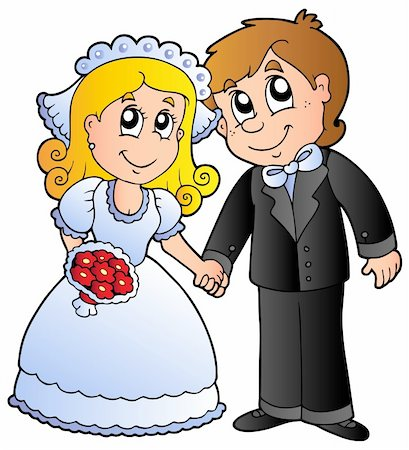 Cute wedding couple - vector illustration. Stock Photo - Budget Royalty-Free & Subscription, Code: 400-04356344