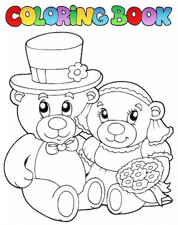 Coloring book with wedding bears - vector illustration. Stock Photo - Budget Royalty-Free & Subscription, Code: 400-04356340