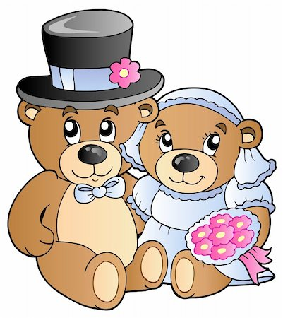 Wedding teddy bears - vector illustration. Stock Photo - Budget Royalty-Free & Subscription, Code: 400-04356356