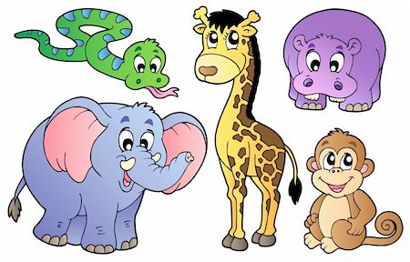 Set of cute African animals - vector illustration. Stock Photo - Budget Royalty-Free & Subscription, Code: 400-04356352