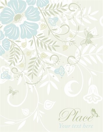 filigree designs in trees and insects - Flower frame with butterfly, element for design, vector illustration Stock Photo - Budget Royalty-Free & Subscription, Code: 400-04356985