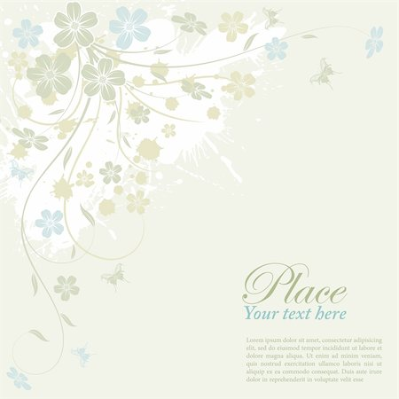 filigree designs in trees and insects - Grunge flower background with butterfly, element for design, vector illustration Stock Photo - Budget Royalty-Free & Subscription, Code: 400-04356987