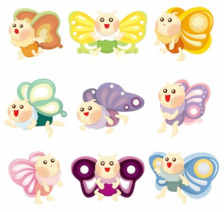 cartoon butterfly icon Stock Photo - Budget Royalty-Free & Subscription, Code: 400-04357534