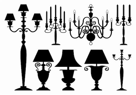 elakwasniewski (artist) - Lighting set, black silhouettes of antique candelabras and lamps on white background Stock Photo - Budget Royalty-Free & Subscription, Code: 400-04357531