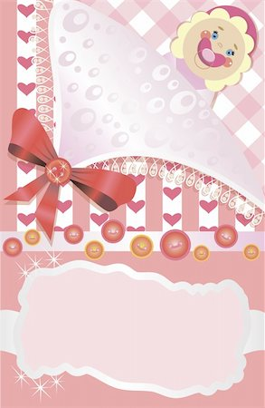 Baby greetings card with little girl Stock Photo - Budget Royalty-Free & Subscription, Code: 400-04357800