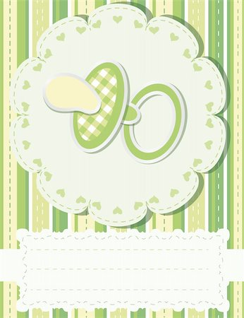 Baby greetings card with green nipple Stock Photo - Budget Royalty-Free & Subscription, Code: 400-04357801