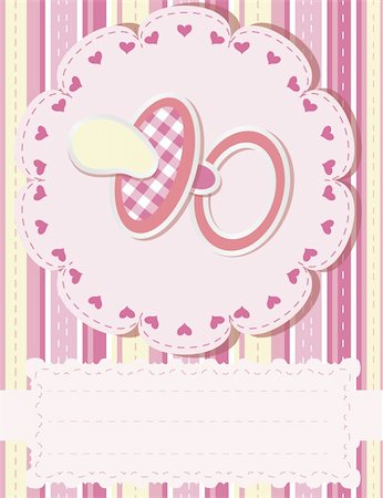 Baby greetings card with pink nipple Stock Photo - Budget Royalty-Free & Subscription, Code: 400-04358064