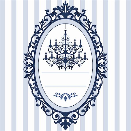Design for wedding cards with vintage, antique oval picture frame and baroque chandelier silhouette, full scalable vector graphic, change the colors as you like. Stock Photo - Budget Royalty-Free & Subscription, Code: 400-04358166
