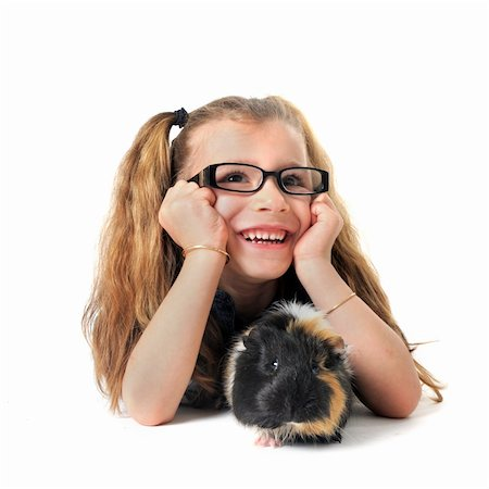 portrait of a laughing little girl and guinea pig in front of white background Stock Photo - Budget Royalty-Free & Subscription, Code: 400-04359481