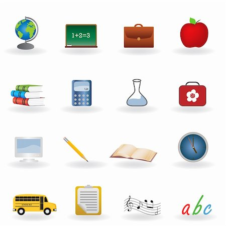 Back to school icon set Stock Photo - Budget Royalty-Free & Subscription, Code: 400-04359608