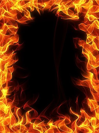 Fire and flame frame on black background Stock Photo - Budget Royalty-Free & Subscription, Code: 400-04359619