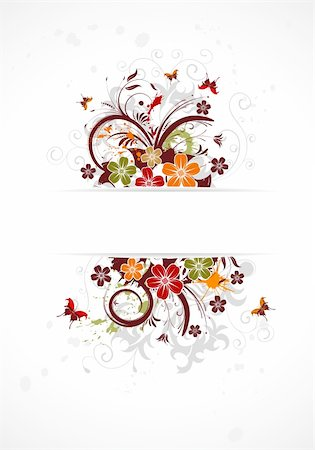 simsearch:400-04290504,k - Abstract grunge flower frame with butterfly, element for design, vector illustration Stock Photo - Budget Royalty-Free & Subscription, Code: 400-04350075