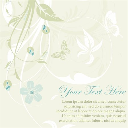 Flower frame with butterfly, element for design, vector illustration Stock Photo - Budget Royalty-Free & Subscription, Code: 400-04350088