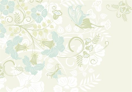filigree designs in trees and insects - Flower frame with butterfly, element for design, vector illustration Stock Photo - Budget Royalty-Free & Subscription, Code: 400-04350099