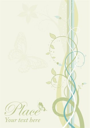 filigree designs in trees and insects - Decorative spring background with butterfly, element for design, vector illustration Stock Photo - Budget Royalty-Free & Subscription, Code: 400-04350104