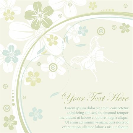 filigree designs in trees and insects - Flower frame with butterfly, element for design, vector illustration Stock Photo - Budget Royalty-Free & Subscription, Code: 400-04350106