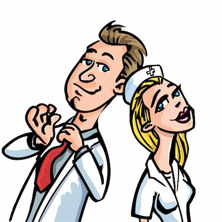 Cartoon doctor flirting with a nurse isolated on white Stock Photo - Budget Royalty-Free & Subscription, Code: 400-04350423