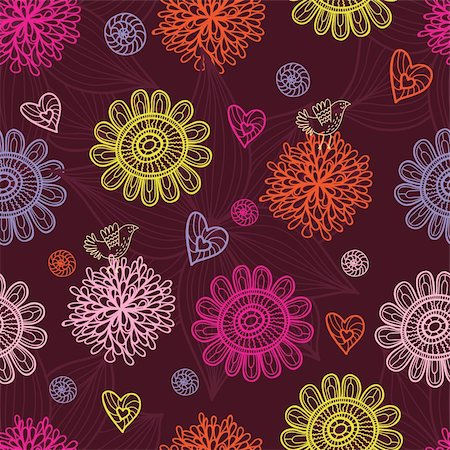 simsearch:400-04765926,k - Floral seamless pattern in vector Stock Photo - Budget Royalty-Free & Subscription, Code: 400-04350526