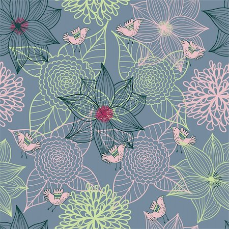 simsearch:400-04765926,k - Floral seamless pattern in vector Stock Photo - Budget Royalty-Free & Subscription, Code: 400-04350530