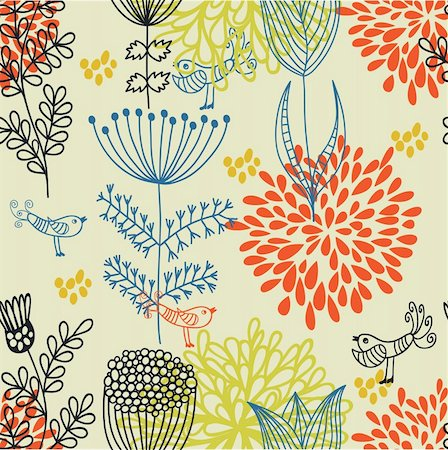 simsearch:400-04765926,k - Floral seamless pattern in vector Stock Photo - Budget Royalty-Free & Subscription, Code: 400-04350532
