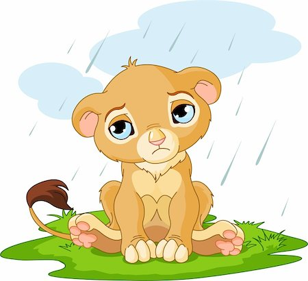 A cute character of sad lion cub on rainy day Stock Photo - Budget Royalty-Free & Subscription, Code: 400-04350565