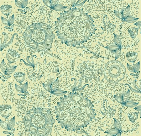 Vector wall-paper with a flower pattern. Stock Photo - Budget Royalty-Free & Subscription, Code: 400-04350967