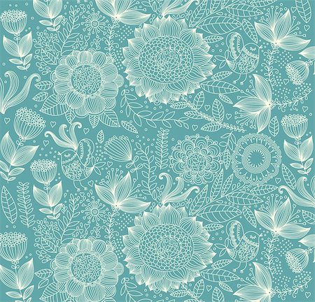 Vector wall-paper with a flower pattern. Stock Photo - Budget Royalty-Free & Subscription, Code: 400-04350968