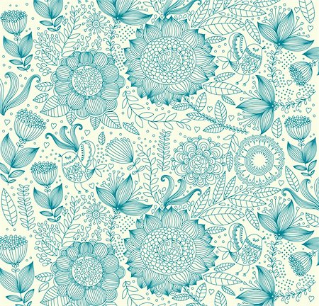 Vector wall-paper with a flower pattern. Stock Photo - Budget Royalty-Free & Subscription, Code: 400-04350969