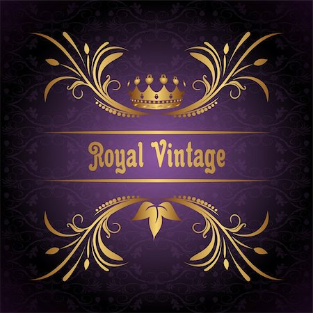 Illustration vintage frame with crown - vector Stock Photo - Budget Royalty-Free & Subscription, Code: 400-04351293