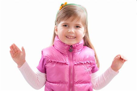 raysay (artist) - little girl with hands up on white Stock Photo - Budget Royalty-Free & Subscription, Code: 400-04351319