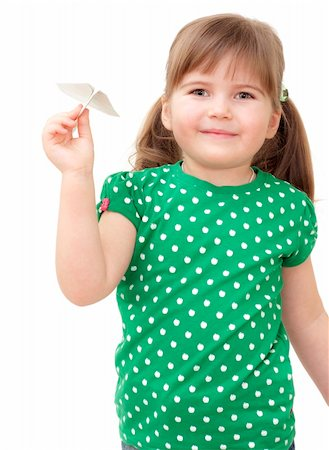 raysay (artist) - little girl flys the plane on white Stock Photo - Budget Royalty-Free & Subscription, Code: 400-04351350