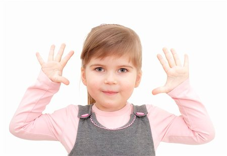 raysay (artist) - little girl rises hands up and shows ten fingers on white Stock Photo - Budget Royalty-Free & Subscription, Code: 400-04351352