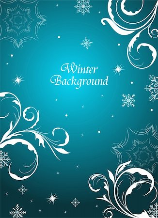 flores - Illustration winter floral background with snowflake - vector Stock Photo - Budget Royalty-Free & Subscription, Code: 400-04351467