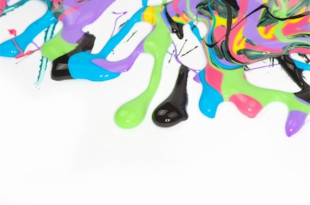 pouring paint art - paint dripping isolated on white Stock Photo - Budget Royalty-Free & Subscription, Code: 400-04351712