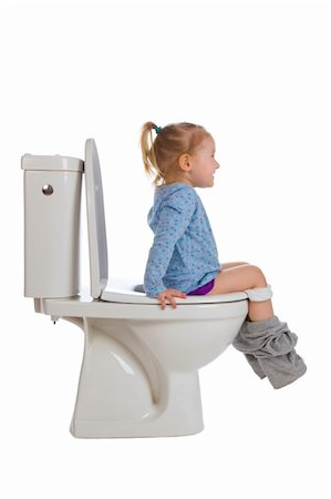 the little girl is sitting on toilet Stock Photo - Budget Royalty-Free & Subscription, Code: 400-04352269