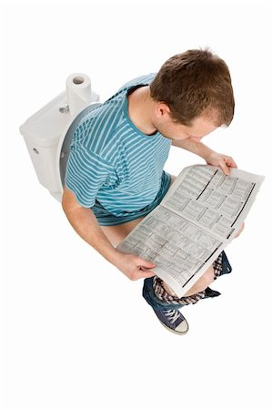 man is sitting on the toilet Stock Photo - Budget Royalty-Free & Subscription, Code: 400-04352272