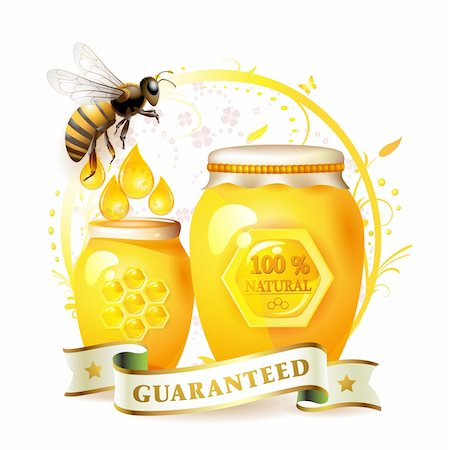 Glass jar with honey and bee over floral background isolated on white Stock Photo - Budget Royalty-Free & Subscription, Code: 400-04353096