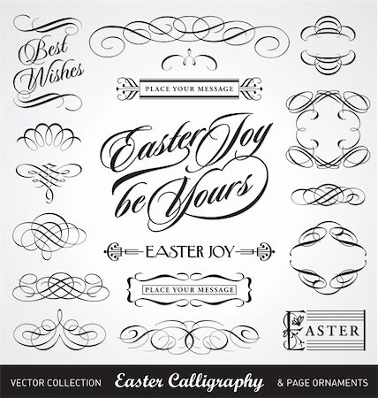 easter calligraphy set, useful decoration elements; scalable and editable vector illustration; Stock Photo - Budget Royalty-Free & Subscription, Code: 400-04353317