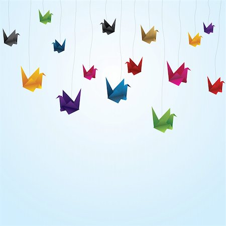 colorful paper birds  flying with thread Stock Photo - Budget Royalty-Free & Subscription, Code: 400-04353441