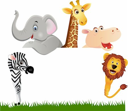 Animal cartoon and blank space Stock Photo - Budget Royalty-Free & Subscription, Code: 400-04353452